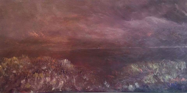 acrylic painting beach dunes at night by Crystal Collins