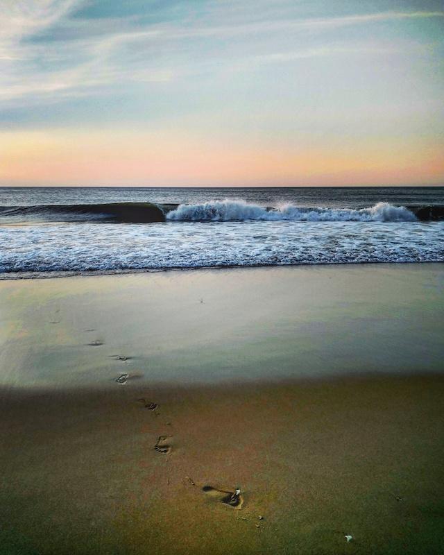 Beach Ocean Footprints Photo